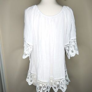 Sundance Tops - Sundance crystelle lace hem top white